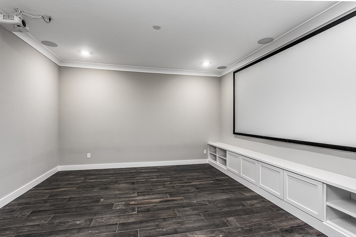 Custom Media Room with Projection Screen