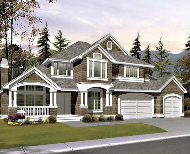 Two story custom home with exterior shake detailing has for Southern custom homes